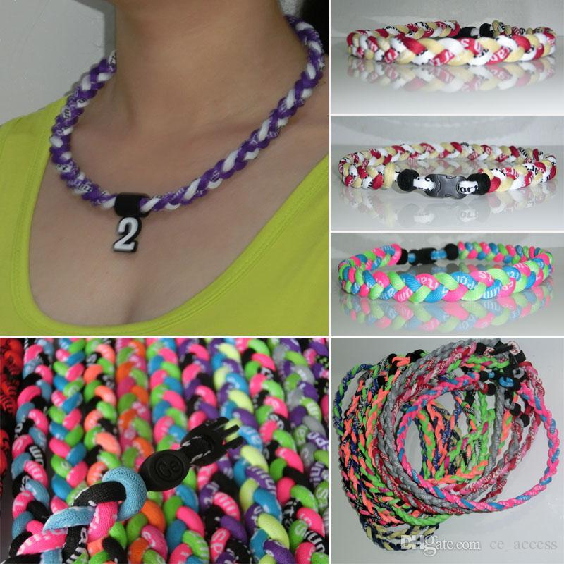 3 colares de titânio de esportes de nylon de corda para meninas cor brilhante de néon 20 ''