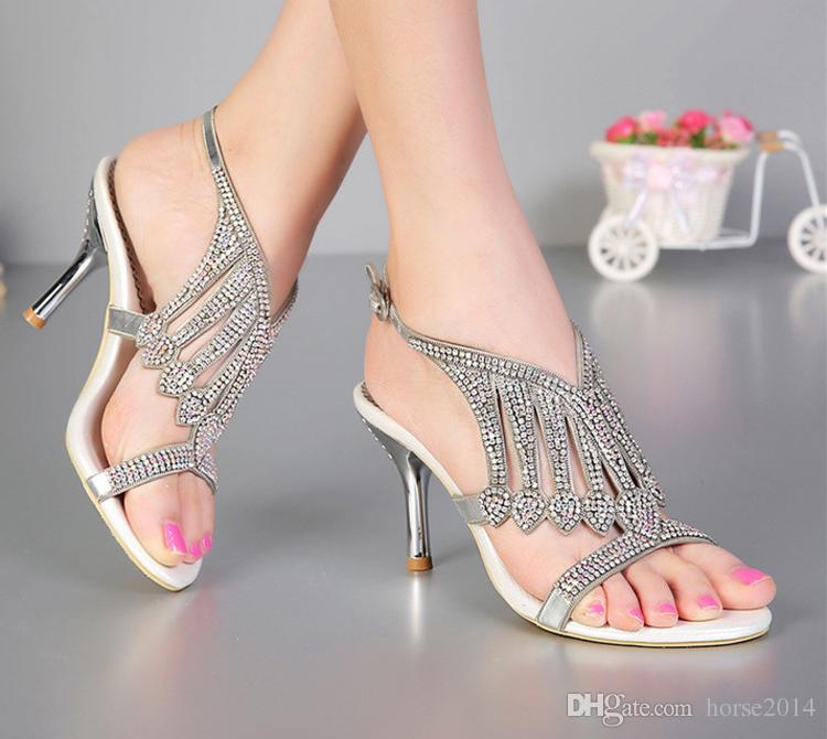 Aberto Toe 3 Polegadas de Verão Sexy Sandálias de Salto Alto de Prata Strass Sapatas De Vestido De Casamento Das Mulheres Moda Slingbacks Sapatos De Noiva