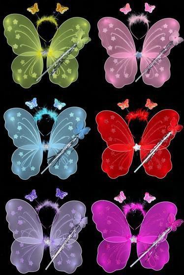 SPEDIZIONE GRATUITA Set di ali di farfalle (ala, fascia per capelli, bacchetta magica) / ali d'angelo / accessori per feste 6colours 10s