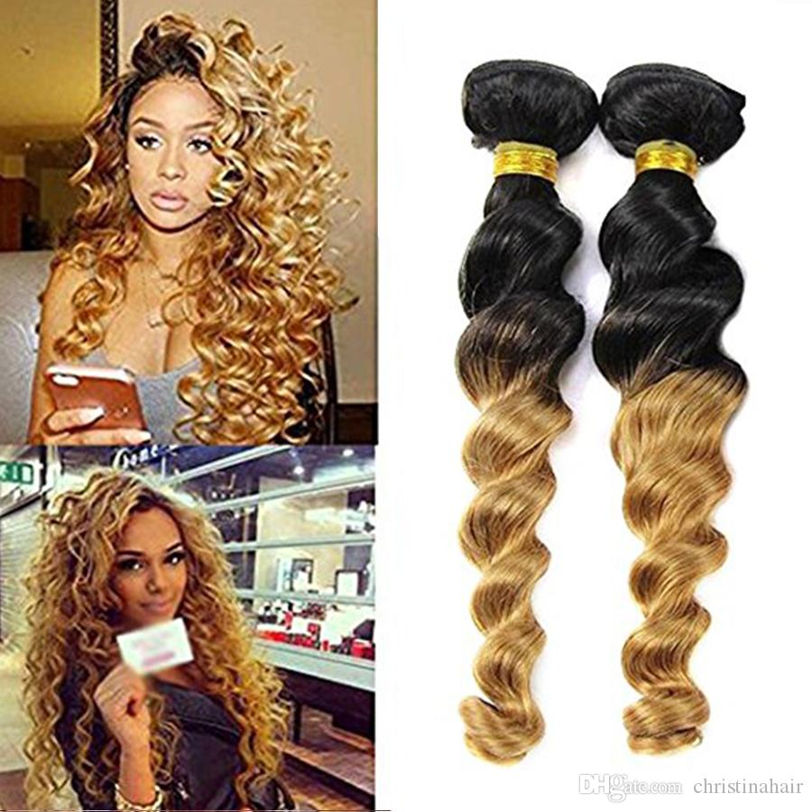 7A Ombre Peruvian Bouncy Loose Wave 3 Bundles Virgin Human Hair Weft 1b/27 Ombre 2 Tone Color Blonde Extensions Weave Free Shipping