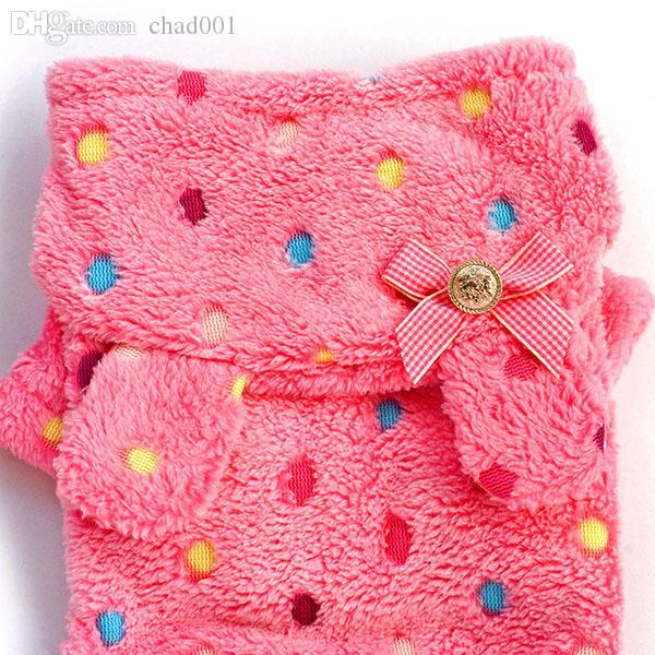 Al por mayor-Puppy Pet Dog Dot + Bow Suave mono caliente pijamas abrigo con capucha ropa traje