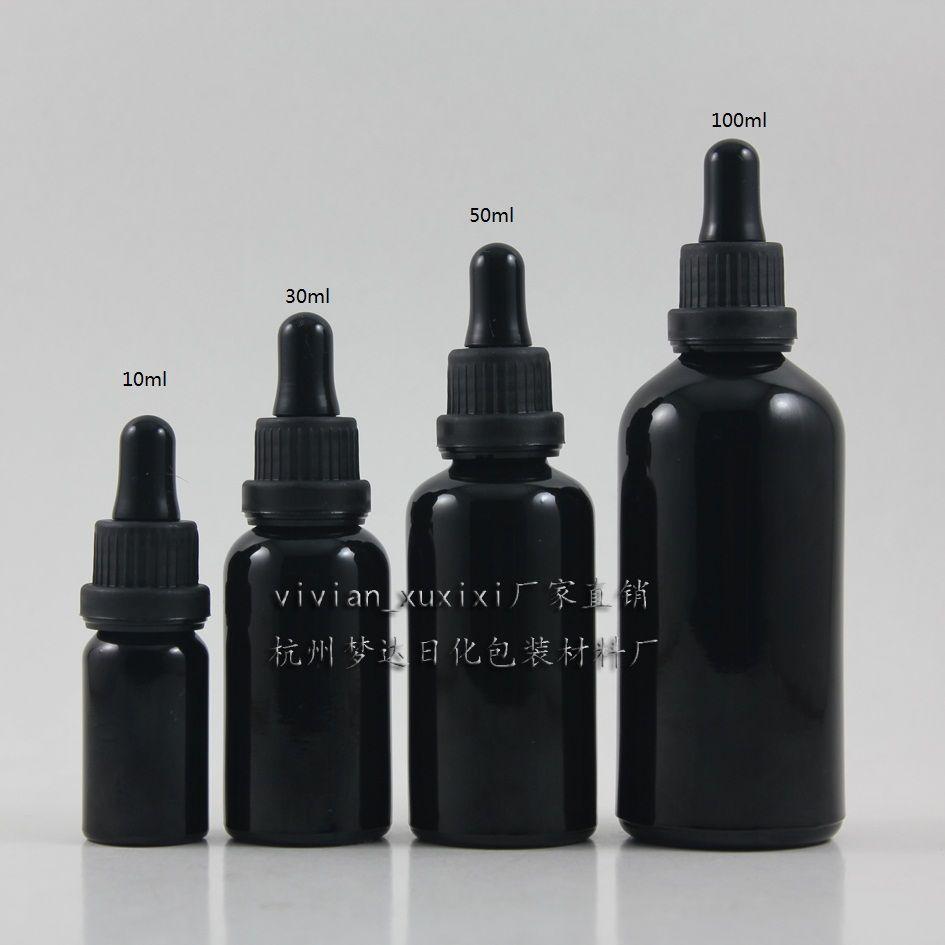 30ml 반짝 이는 블랙 유리 에센셜 오일 병 (블랙 도난 방지 링 + 블랙 러버) 드롭퍼 캡. 에센셜 오일 용기