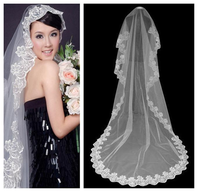 Ivory Veil Womens Veil Bridal Veils Womens Elegant Embroidery and Lace Long Tail Hot Womens White and Net Yarn Veil