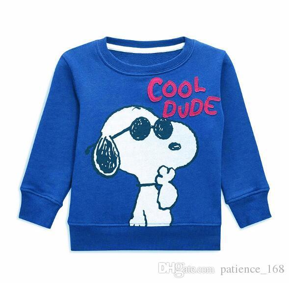4 Arten BST NEUE ANKUNFT kleine maven Junge Mädchen Kinder Baumwolle Langarm Cartoon-Hund Affe Druck T-Shirt Junge kausales Frühjahr Herbst T-Shirt
