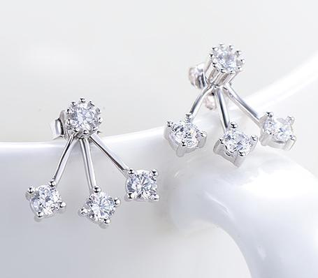 925 스털링 실버 스터드 귀걸이 패션 쥬얼리 리 트리 브랜치 지르콘 다이아몬드 크리스탈 여성용 우아한 스타일 귀걸이