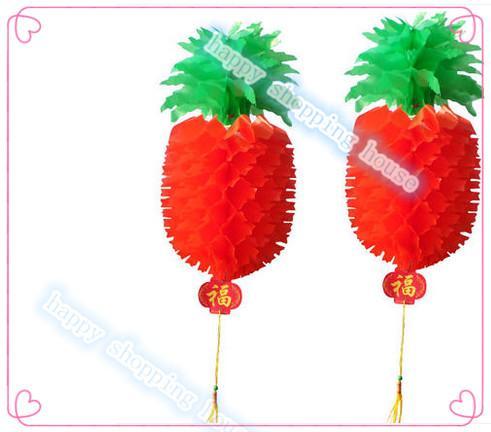 yükseklik 47cm genişliği 24cm olay parti malzemeleri yeni yıl kırmızı ananas plastik kağıt fener festivali fener