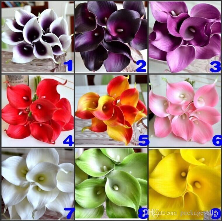 DES FLORAL Decorative flower Artificial Dark Purple Mini Calla Lily Bouquet For Wedding Decorations supply 9 Colors in stock