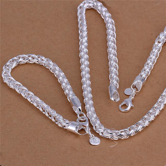 S059 Top quality 925 sterling silver necklace Twisted ring (20inches) & Bracelets (8inches) Fashion Jewelry Set For Men Free shipping