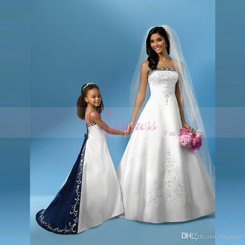 Discount White And Blue Satin Wedding Dress A Line Royal Bandage ...