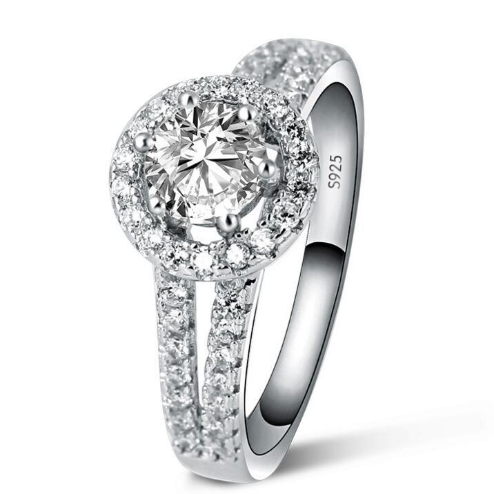 女性のための贅沢な925のスターリングシルバーリング、女性のための婚約指輪、女の子のためのブライダルギフトのための1 ctシミュレート
