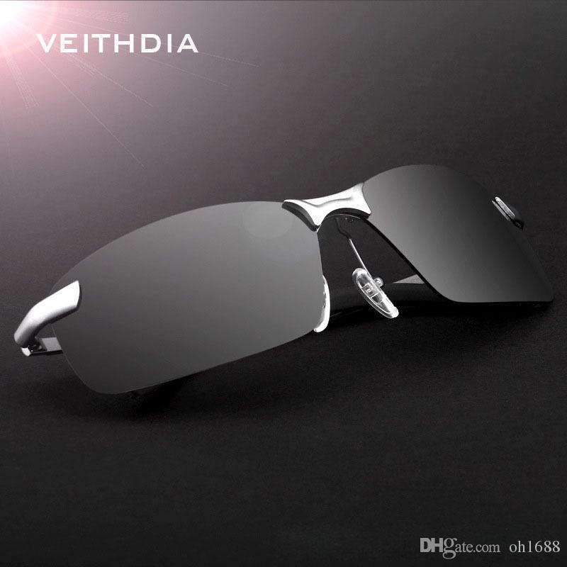 VEITHDIA 2020 nueva marca de fábrica 3043 del marco gafas de sol polarizadas de los hombres de aleación de aluminio de gafas de sol de conducción de los vidrios de los anteojos y accesorios
