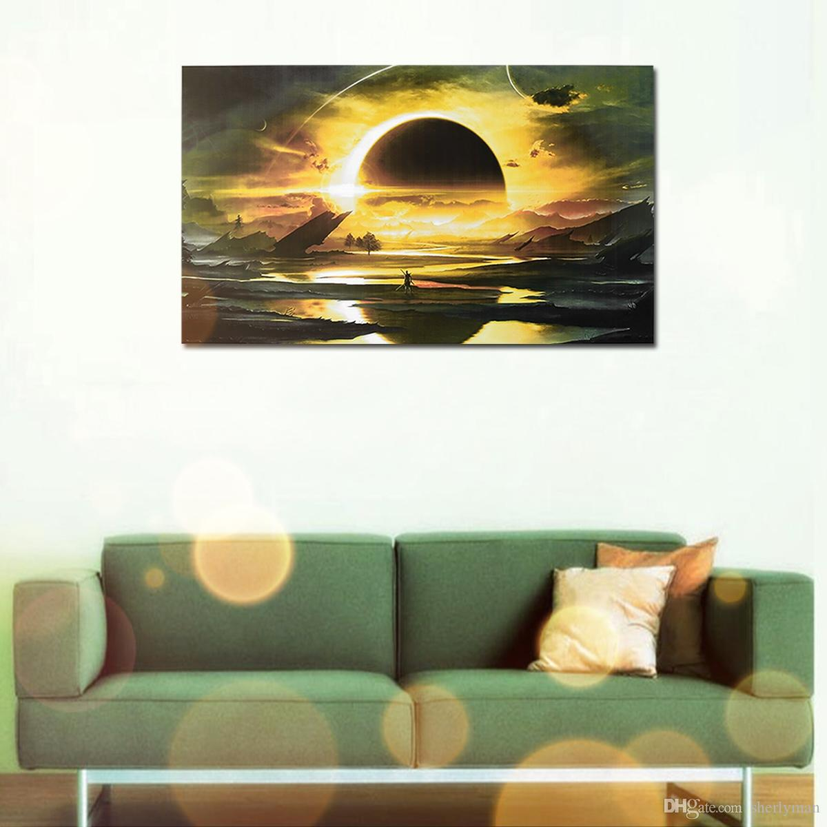 2018 Black Circle Moon Impressionist Art Oil Wall Decorative ...