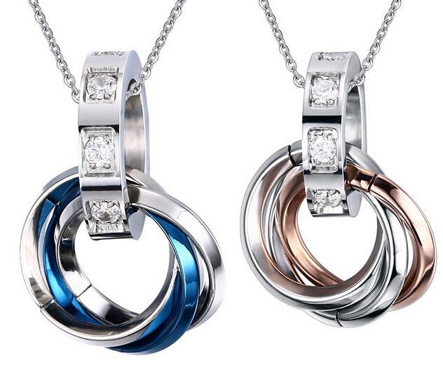 Fashion Foreve True Love Choisir Bijoux Paire Couple Amoureux Argent Bleu Doré En Acier Inoxydable Tri-cercle Collier Pendentif