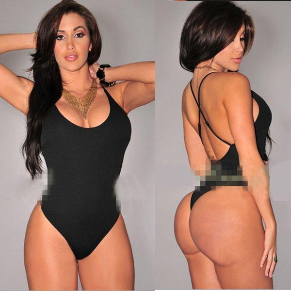 Kim Kardashian Mayo Kadınlar 2015 Seksi Biquini Bandaj Push Up Beachwear Monokini Üçgen Banyo Tek Parça Mayo