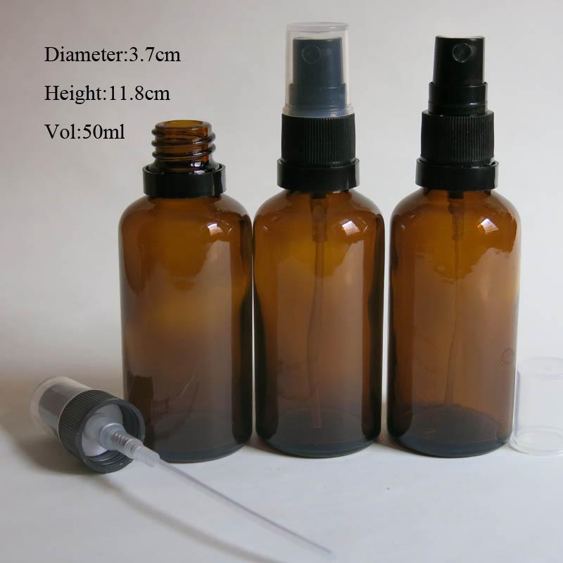 높은 품질 10pcs / lot 50 ml 호박 유리 스프레이 병, 유리 병, 안개 분무기 병, 향수 스프레이 파란색 컨테이너
