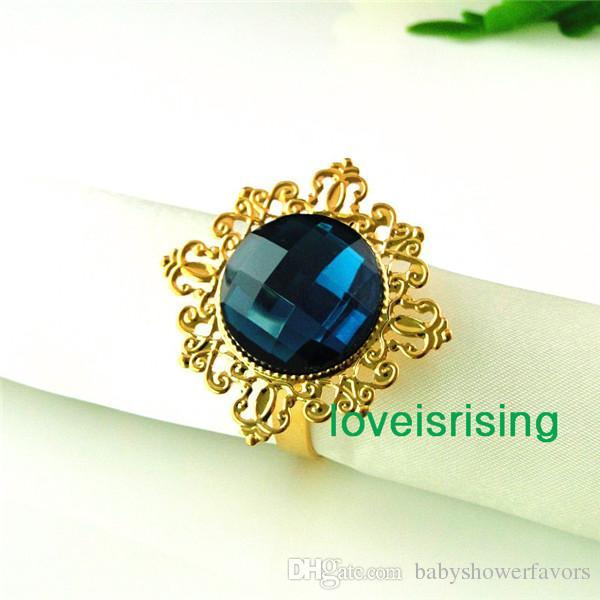 Самая низкая цена--50шт Чирок синий позолоченный Винтаж стиль кольца для салфеток свадьба свадебный душ держатель салфетки-- Бесплатная доставка