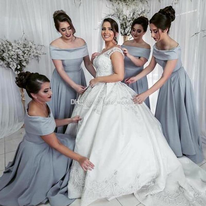 Élégant gris satin satin éraflé épaule demoiselle d'honneur robe bâillouche coude chevauche longueur de mariage robes de mariage robe de demoiselle d'honneur