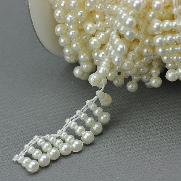 V20 10meters Creamy / White Half Round Pearl Garland Wedding Cake Tapeting Test Deco
