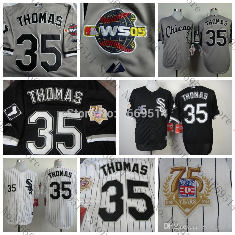 huge selection of 4a32b a5cae 2017 2016 New Newest Frank Thomas Jersey,Cheap Chicago White Sox 35# Frank  Thomas Baseball Jersey, W/75th Anniversary Patch,Hall Of Fame Shirt From ...