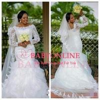 Vestidos De Novia 2015 Elegant Plus Size Beaded Lace Long Sleeve Mermaid Wedding Dresses Robe De Marriage Bride Dresses