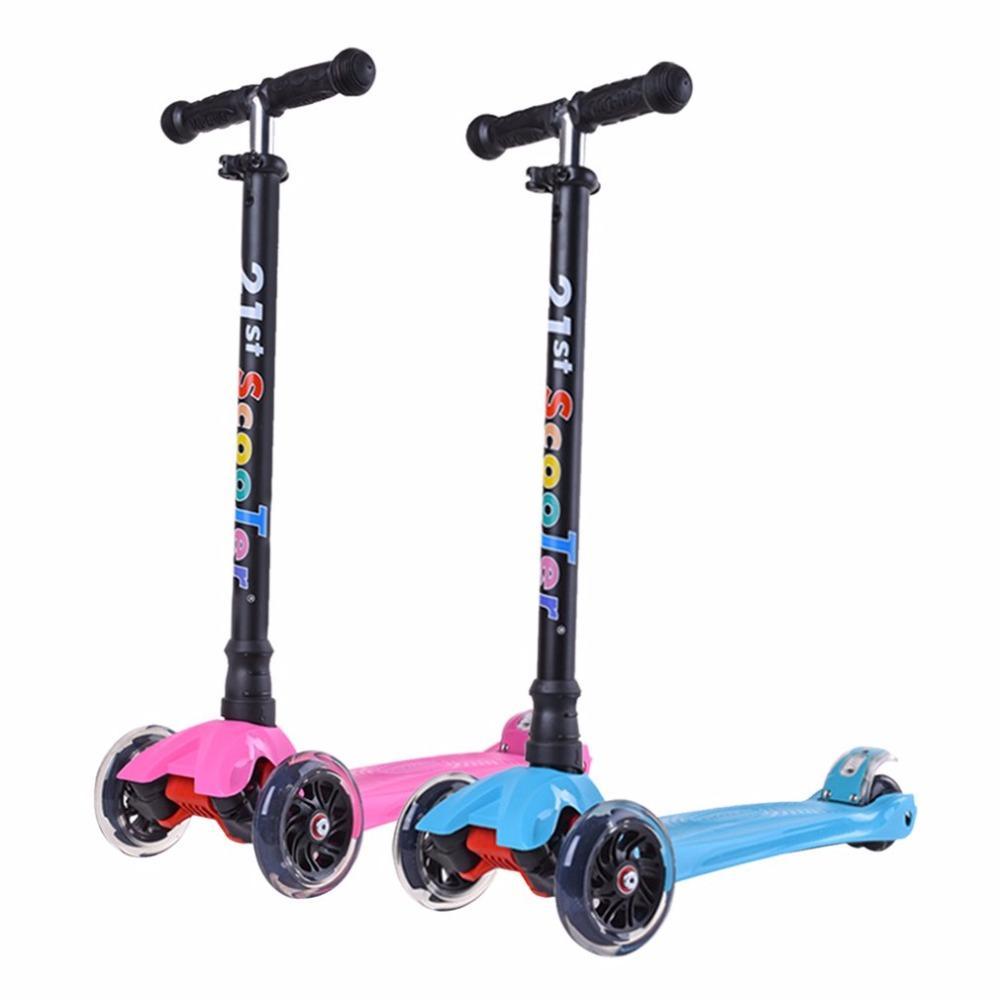 Дети На Открытом Воздухе Играют Бодибилдинг Скутер Легкий Регулируемая Высота 4 Колеса LED Мигающий Свет Детей Kick Scooter