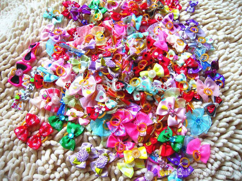 New Mix Designs Rhinestone Pearls Style dog bows pet hair bows dog hair accessories grooming products Cute Gift 100pcs/lot