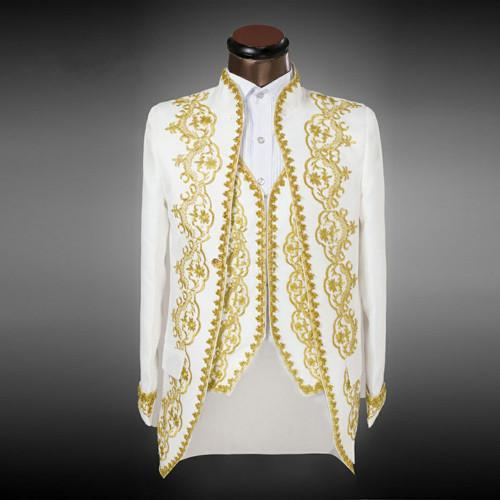 ملابس العريس الرشيقة البيضاء الفاخرة مع مطرز ذهبي ذو ثديين رسميين بدلات العريس الكلاسيكية (سترة + سروال + سترة))