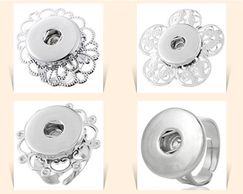 HOT adjustable silver flower rings Chunk Snap Button Ring DIY ginger snaps interchangeable Jewelry for women