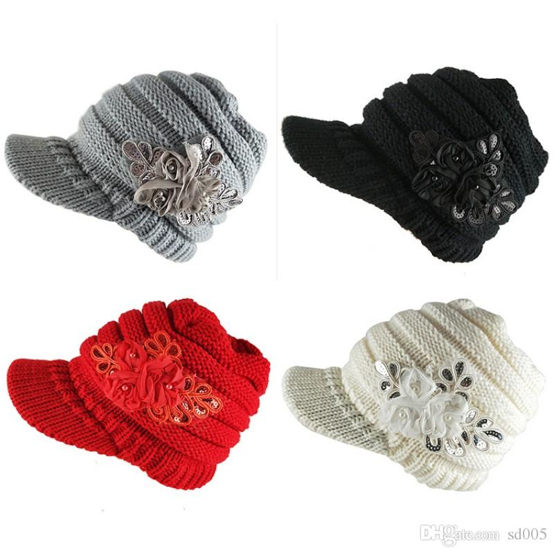 Women Wool Knitted Beanie Wide Brim Keep Warm Elastic Hats Adjustable Sequins Applique Cap For Outdoor Sports 12ns B