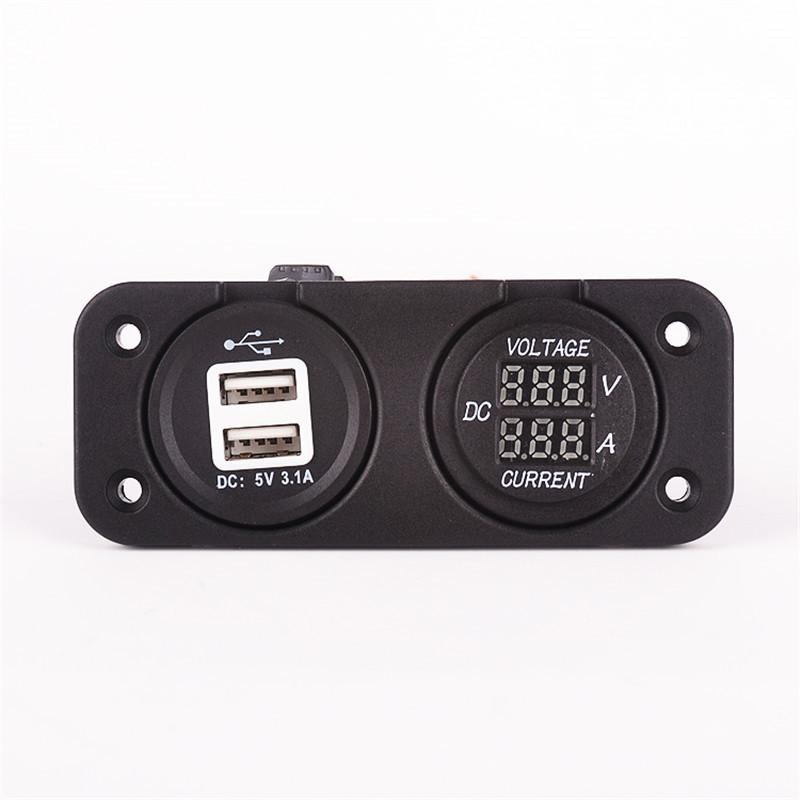 car 5V 3.1A USB power charge socket + DC voltage current meter 2in1  Auto mobile phone charger