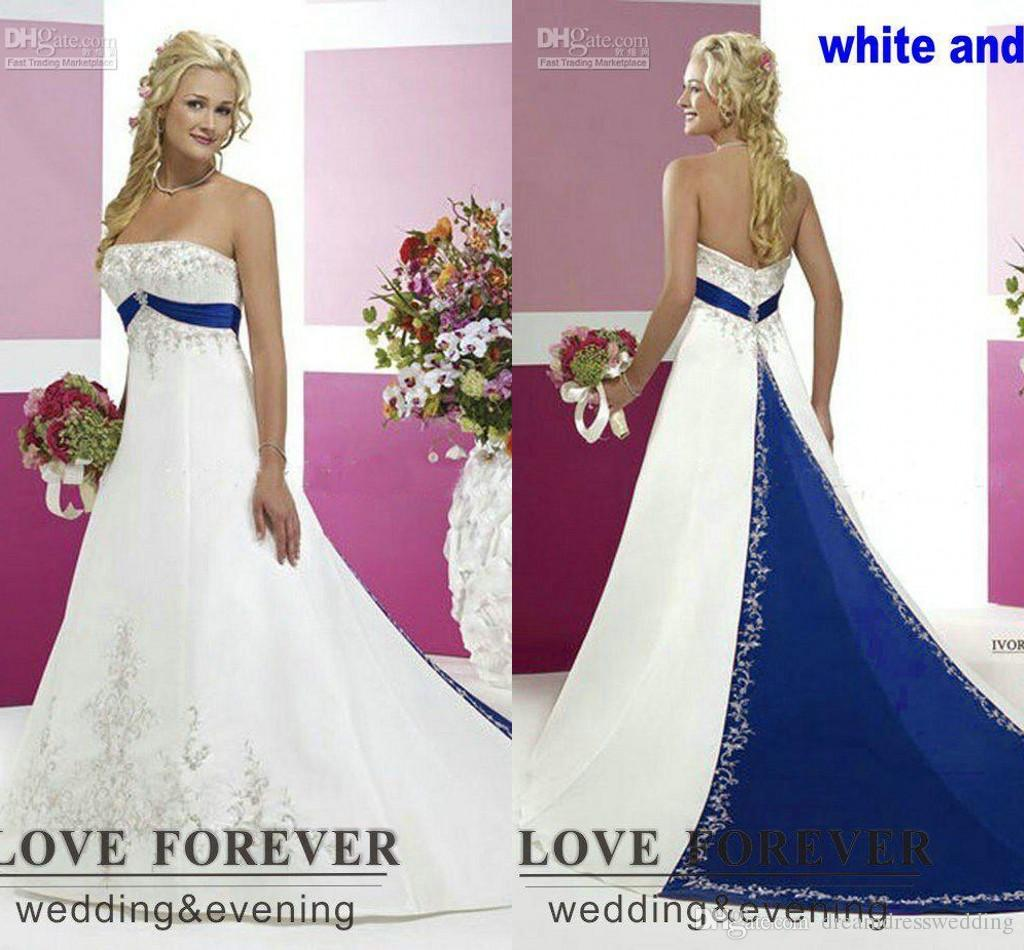 Discount 2016 Vintage Style Plus Size Wedding Dresses Silver Embroidery On Satin White And Royal Blue Floor Length Dress Custom Made Design Your Own