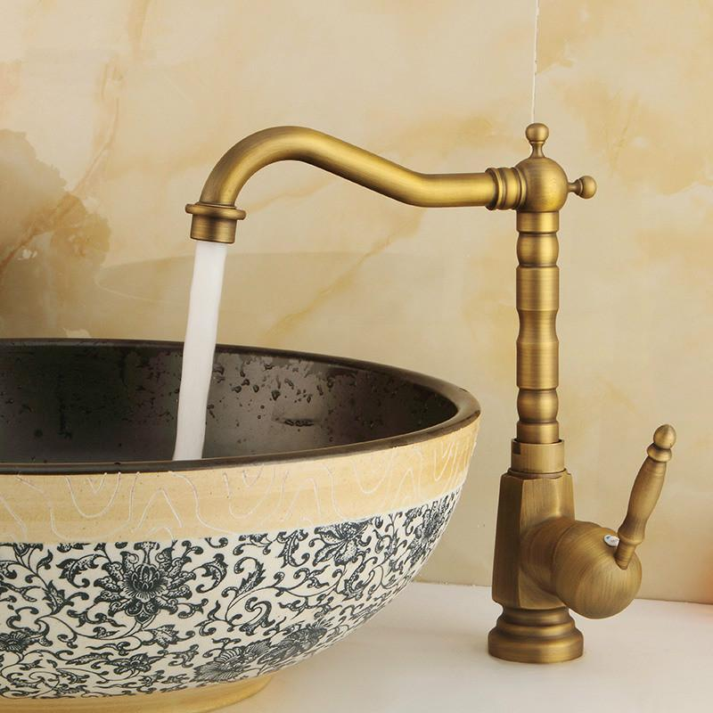 Free shipping Antique Bronze Finish 360 Degree Swivel Brass Faucet Bathroom Basin Sink Mixer Bath& kitchen taps Faucet