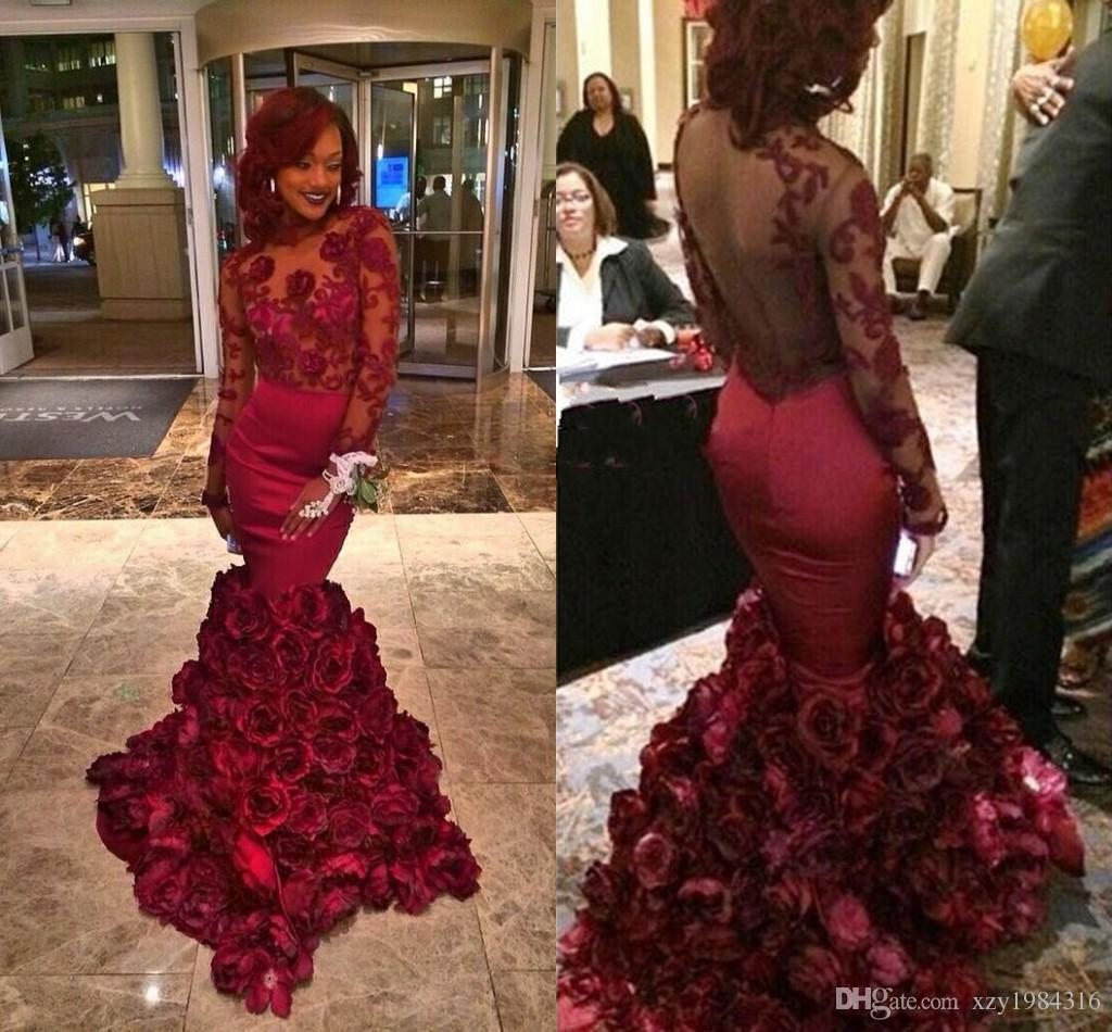 2015 Romantic Red Evening Dress Mermaid With Rose Floral Ruffles Sheer Prom Gown With Applique Long Sleeve Prom Dresses With Bra Sweep Train
