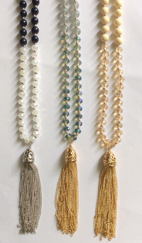 8MM glatt und facettiert Glasperlen Quaste Halskette Creme Marinegrau Farben Rhodium Shinny vergoldet Kette Y-Form