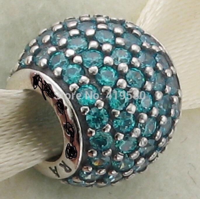 Autentyczna śruba otwór Europejski styl koraliki 925 Sterling Silver Teal Pave Lights CZ Urok