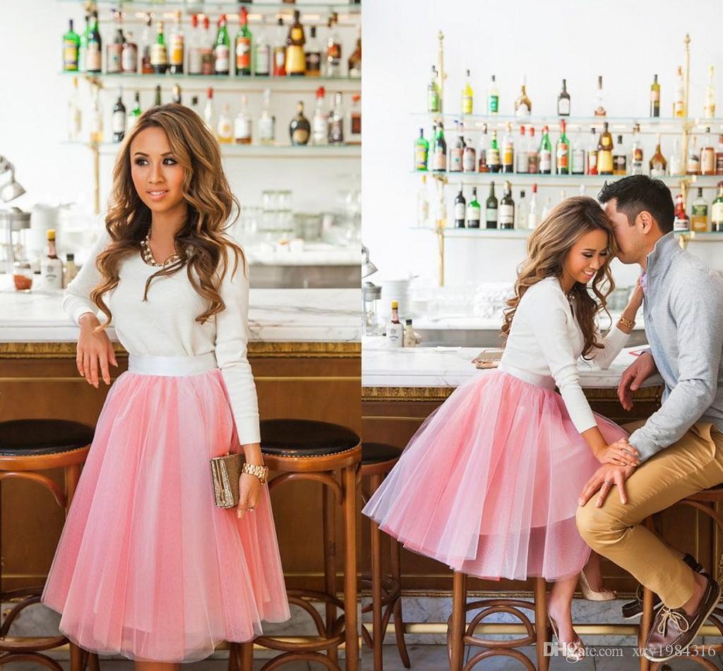 2015 أفضل بيع الوردي الأورجانزا تنورة للنساء ruched الأميرة أنيقة شير السببية التنانير المألوف سهلة مطابقة تنانير تول