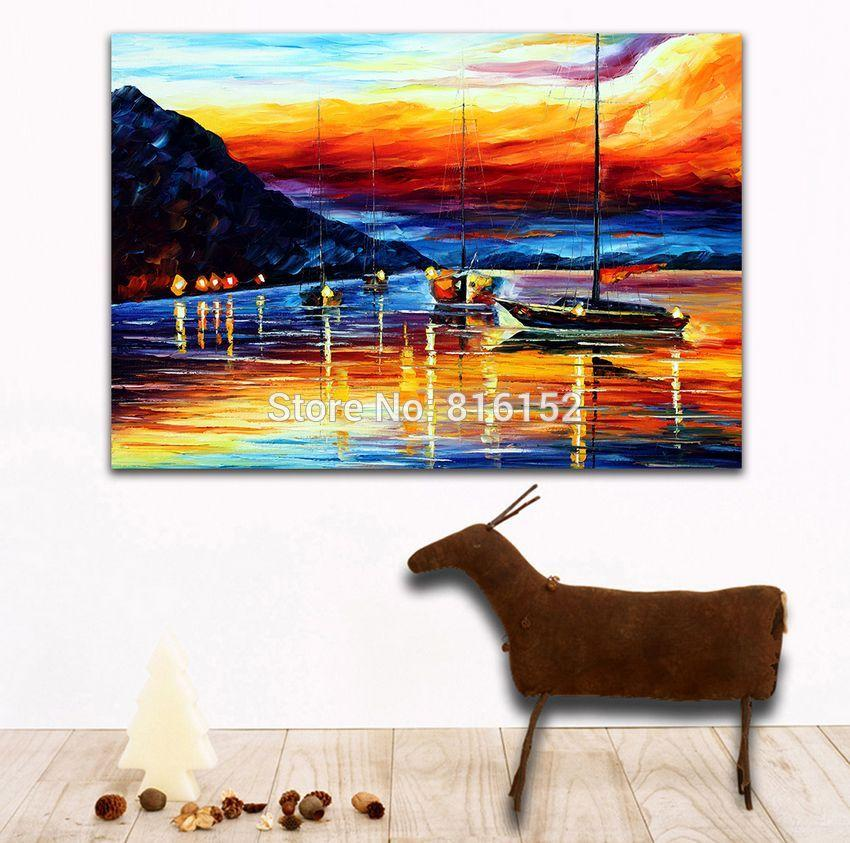 Modern Palette Knife Painting Resting Boat on Sunset Whart Picture Printed On Canvas For Office Home Hotel Wall Art Decor