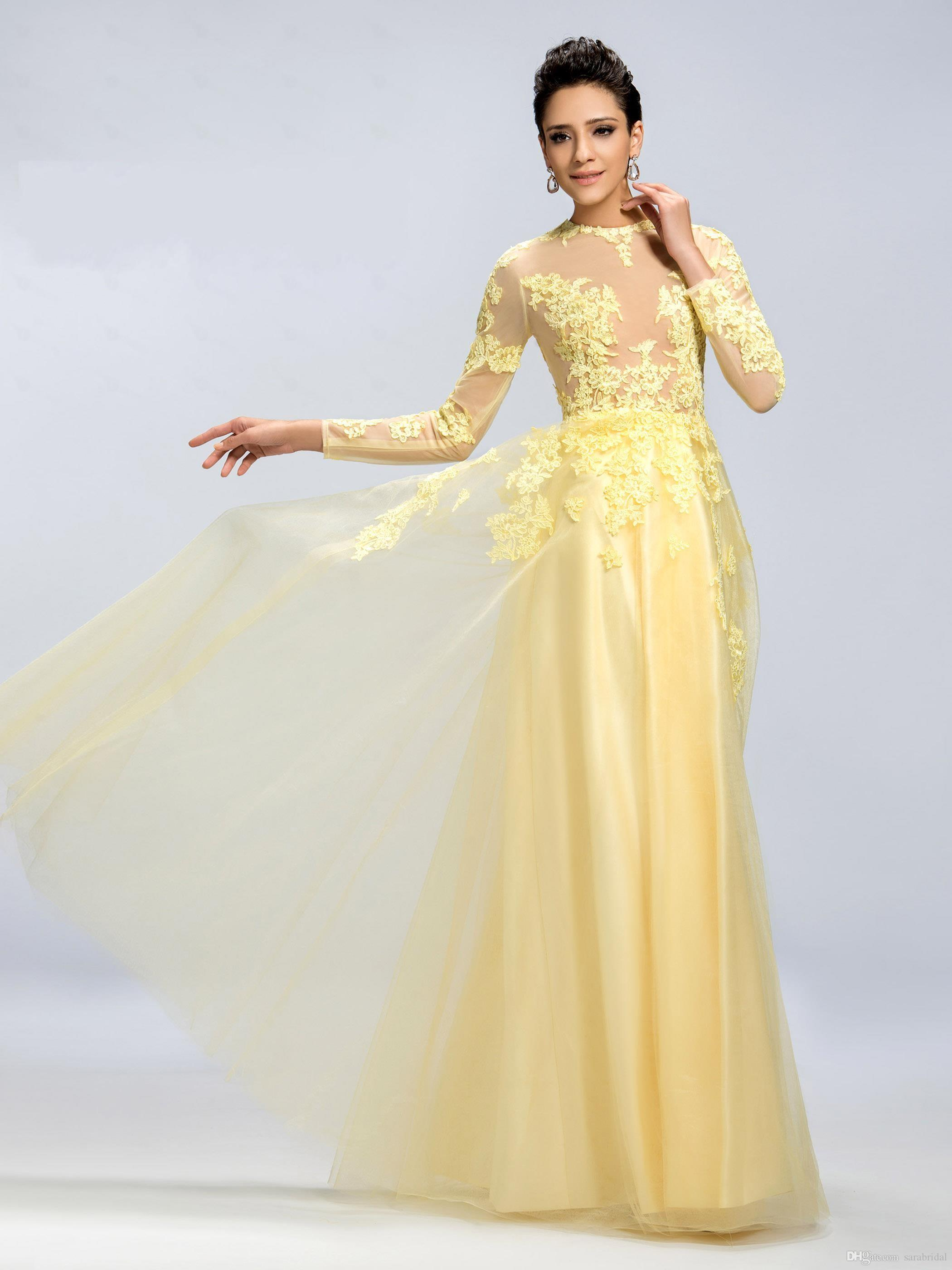 2016 Long Sleeves Prom Dresses Yellow Crew Sheer Lace Applique ...
