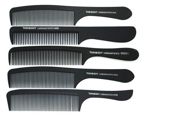 12pcs each style hot sale black TONY & GUY hairdressing Haircut Hair comb Carbon flux comb Flat hair Slim comb 12 PCS each style drop ship