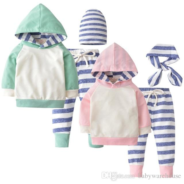 3PCS Newborn Baby Boys Girls Clothes Long Sleeve Hooded Pullover Tops Stripe Pants Hat/Headband Infant Baby Boy Clothing Set Toddler Outfits