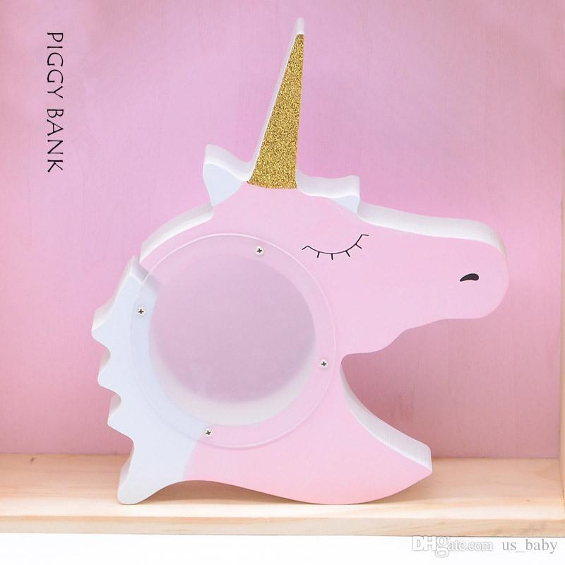 Einhorn Design Sparschwein Kinder Rosa Weiß Spardose zum Speichern von Münzen Bargeld Schöne Artware Geschenk Holzspielzeug Weihnachtsgeschenk