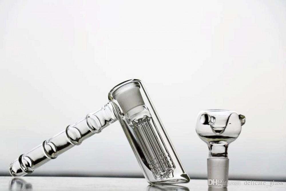 2 Style Verre Verre Bongs Tuyaux d'eau Hammer 6 ARM PERCOLATEUR PERCOLATEUR DE PERCOLATEUR DAB PIÈCES VERRE BONGS TUYAUX D'ALIMENTATION 18.8MM Nargrohs