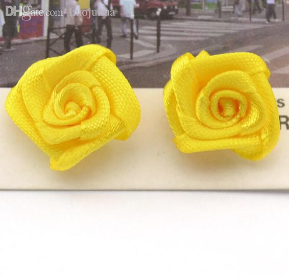 Gros-100pcs / lot main 18mm satin Rose Ruban rosettes Tissu fleur bricolage Décor de mariage Bow Craft Couture Accessoires Appliqués