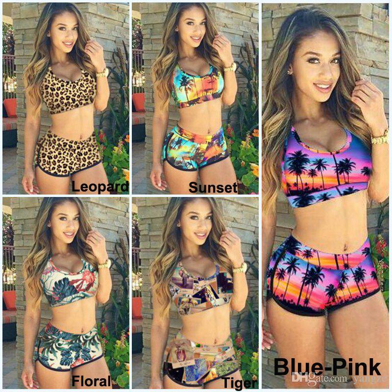 Fashion Sexy Women Bandage Swimsuit Tankini Sunset Coconut Palm 3D Printed Racerback Vest Tank Tops Bra & Shorts Sports Swimwear KF898