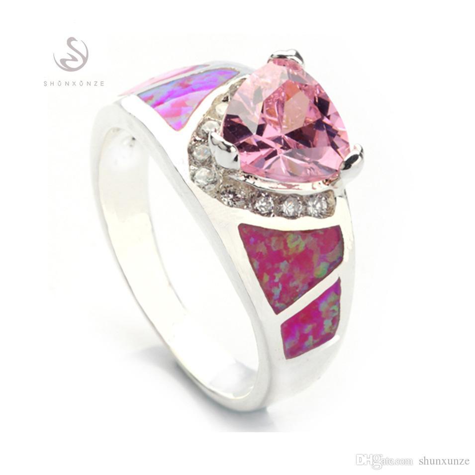 Shunxunze Noble genereuze engagement trouwringen voor vrouwen dropshipping roze kubieke zirkonia roze opaal rhodium plated R341 maat 6 7 8 9 10