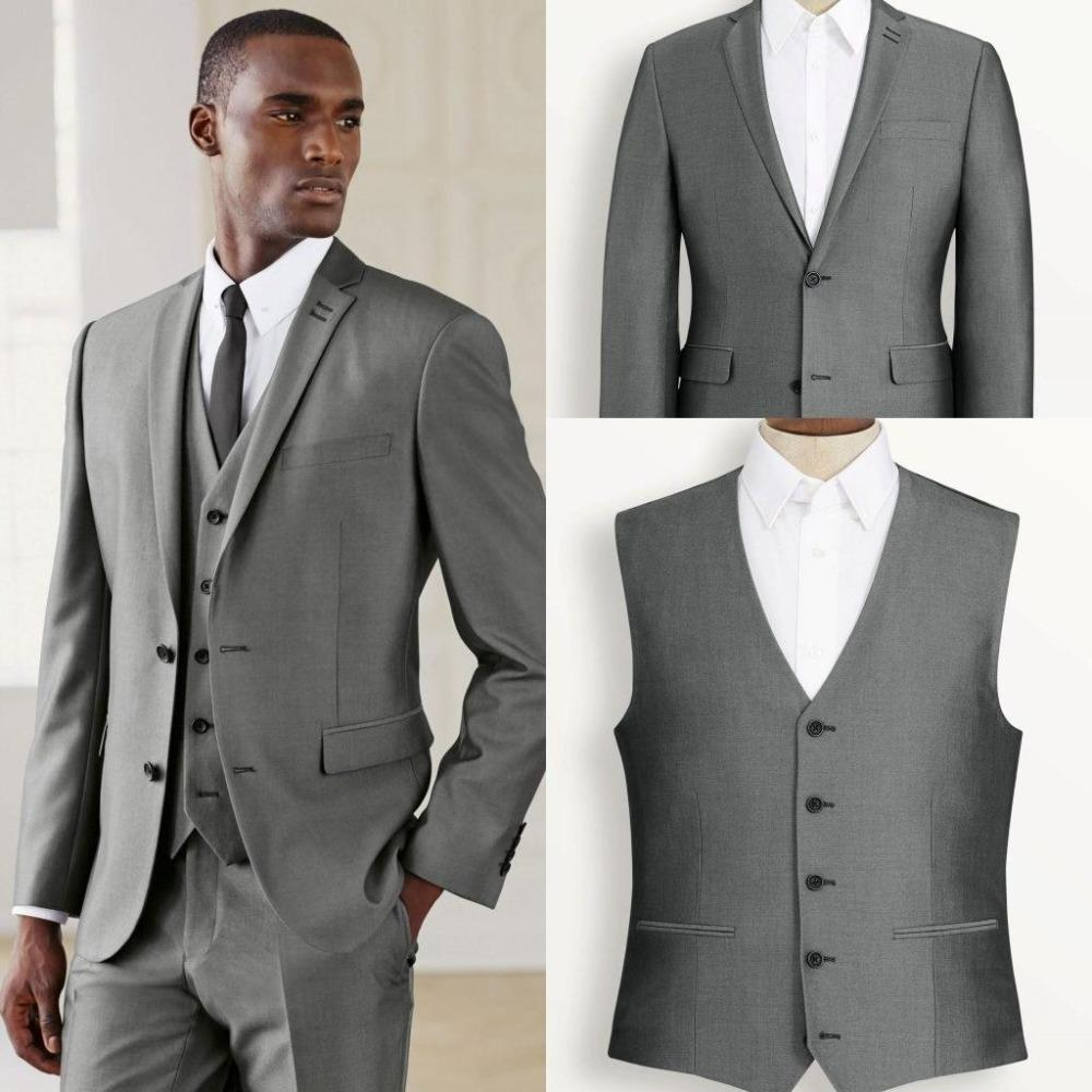 Hellgrau Tuxedo Anzüge Nach Maß Morgen Herren Anzüge Bräutigam Smoking Revers Groomsmen Anzüge Prom Kleid Anzug (Jacke + Pants + weste + Tie)