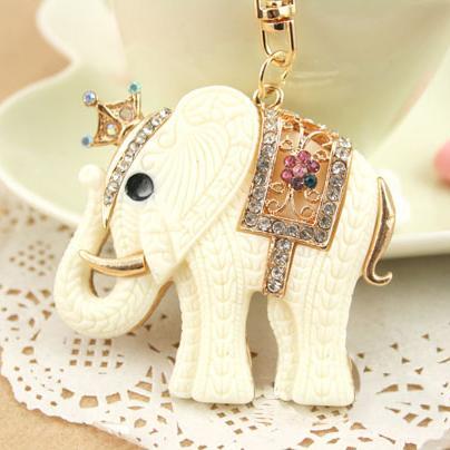 Moda Animal titular do anel Chave, White Elephant Chaveiros, Bolsa / bolsa Encantos, Presente Agradável Real Banhado A Ouro Liga Chaveiro, frete grátis