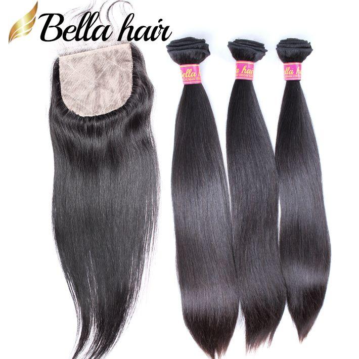 シルクベースのレースの閉鎖4x4を持つ人間の髪の束4x4まっすぐなブラジルのマレーシアのペルーのインドのバージンヘア緯糸伸び4pcベラ髪