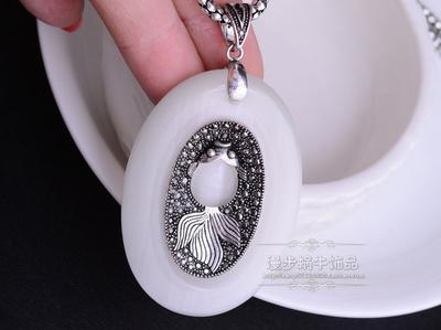 old diamond jade inlay fish pendant (7*3.8cm) lady's necklace (78+extra 6cm) (woniu152)