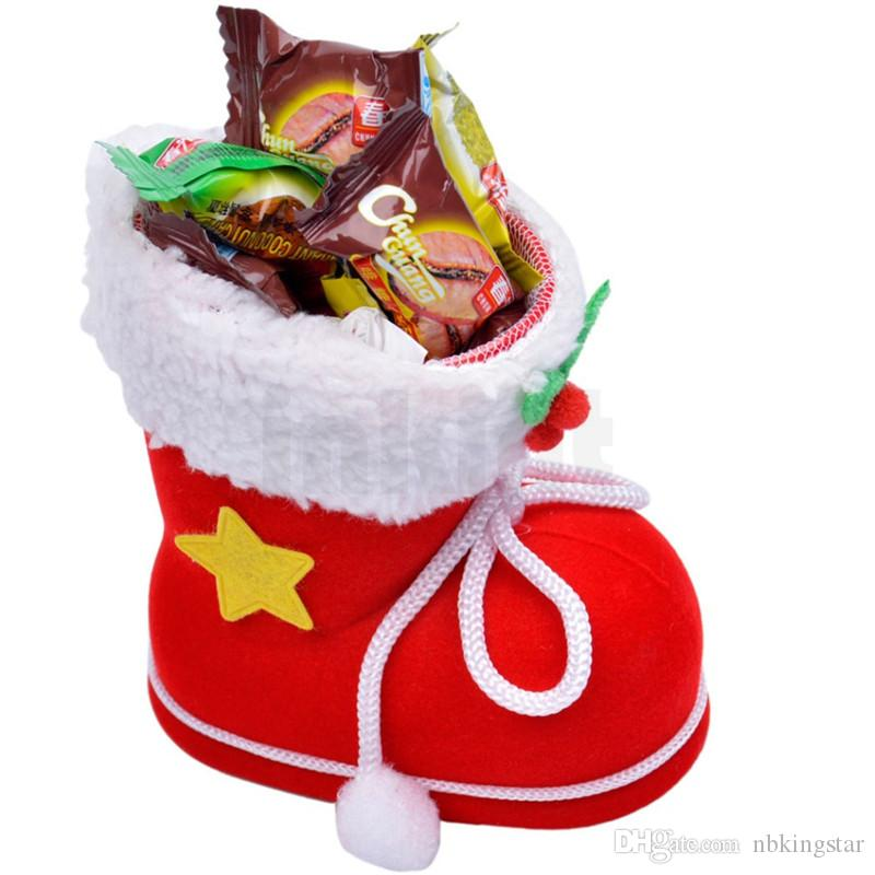 30Pcs/Lot Red Creative Christmas Candy Boots Ornaments Party Decoration Christmas Candy Gift Bag Boots Pendant New Year Decorations 3 Sizes